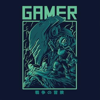Ilustración de gamer remasterizada