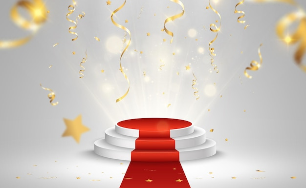 Ilustración para los ganadores de premios. pedestal o plataforma para homenajear a los premiados.