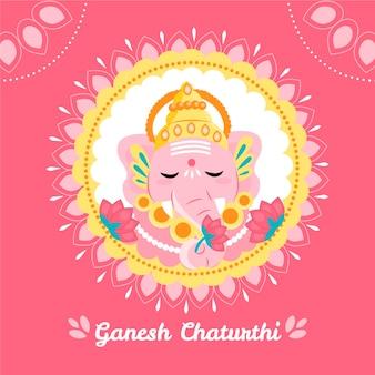 Ilustración de ganesh chaturthi con elefante