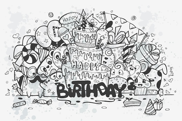 Ilustración de un garabatos dibujados a mano en un cumpleaños temático. contorno negro