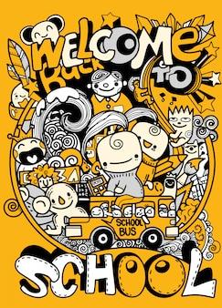 Ilustración de garabatos de escuela, día del conocimiento dibujado a mano