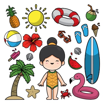 Ilustración de garabatos de verano