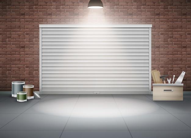 Ilustración de garaje cerrado para coche o almacenamiento con lámpara de pared de ladrillo marrón. composición realista de herramientas de construcción y pintura cerca del obturador.