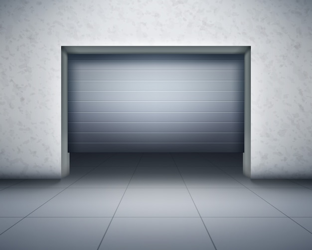 Ilustración de garaje, vista frontal. composición realista con paredes de hormigón y suelo de baldosas grises y puerta que se abre con interior oscuro