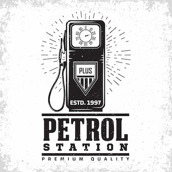 Ilustración de gasolinera vintage
