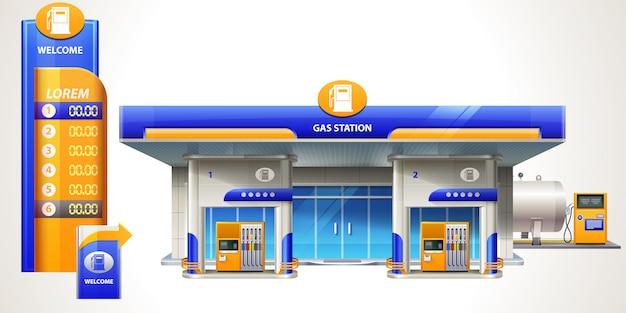Ilustración de gasolinera