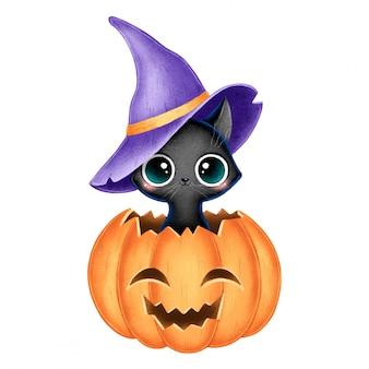 Ilustración de un gato de bruja negra de dibujos animados lindo con sombrero de mago púrpura sentado en una calabaza