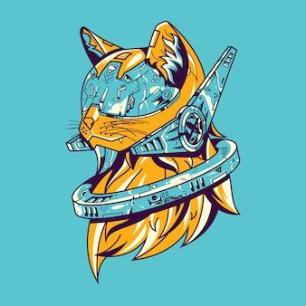 Ilustración de gato futuro y diseño de camiseta.