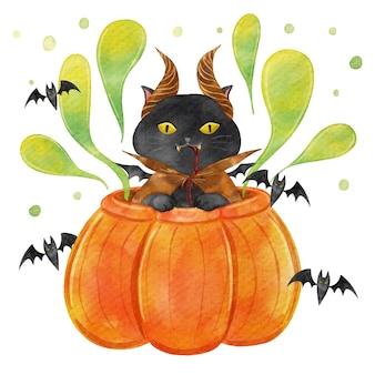Ilustración de gato de halloween en acuarela