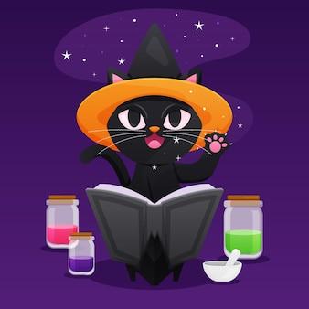 Ilustración de gato de halloween con magia