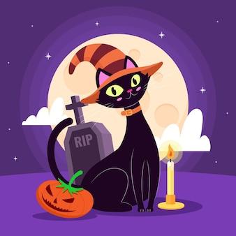 Ilustración de gato de halloween plana