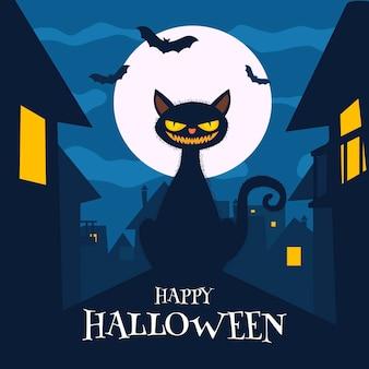 Ilustración de gato de halloween plana vector gratuito