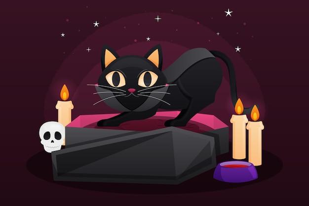 Ilustración de gato de halloween con velas