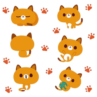 Ilustración de gato kawaii