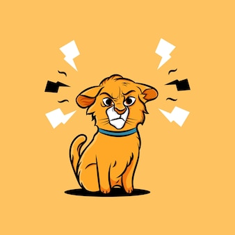 Ilustración de gato lindo enojado