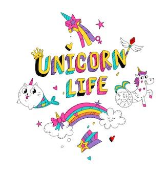 Ilustración de un gato mágico en la imagen de una sirena y un unicornio en forma de sirena.