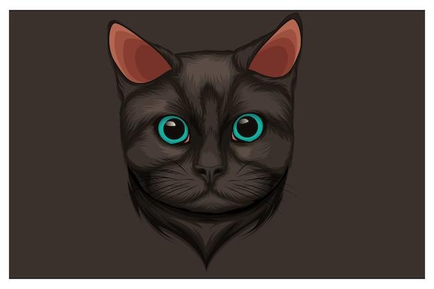 Ilustración de gato negro de ojos hermosos