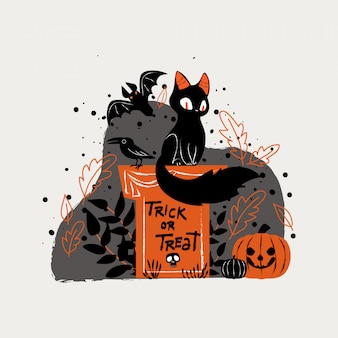 Ilustración de gato negro sentado en el cementerio para halloween
