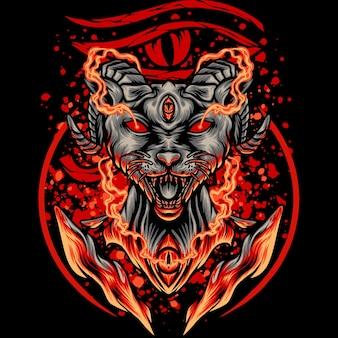 Ilustración de gato satánico egipcio