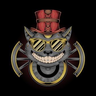 Ilustración de gato steampunk