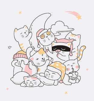 Ilustración, gato, sueño, garabato
