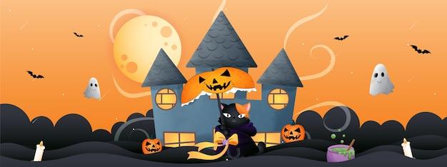 Ilustración de gato con temática de halloween