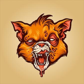 Ilustración de gato zombie