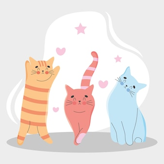 Ilustración de gatos adorables