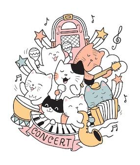 Ilustración de gatos en concierto