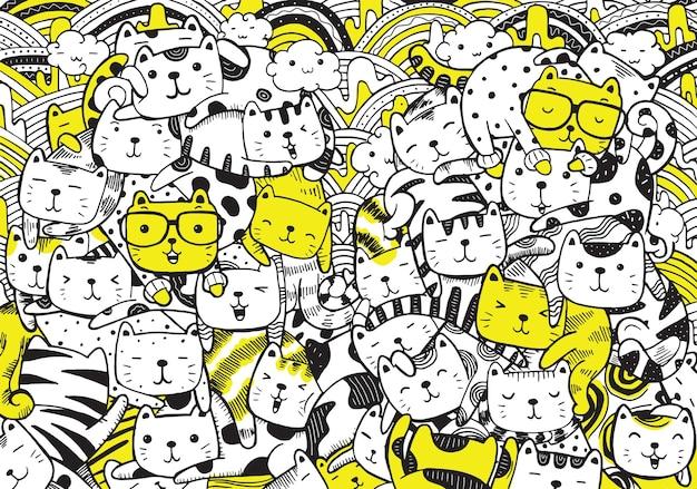 Ilustración de gatos doodle en estilo de dibujos animados