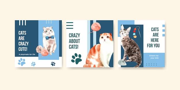 Ilustración de gatos lindos en estilo acuarela con citas. locos por los gatos!