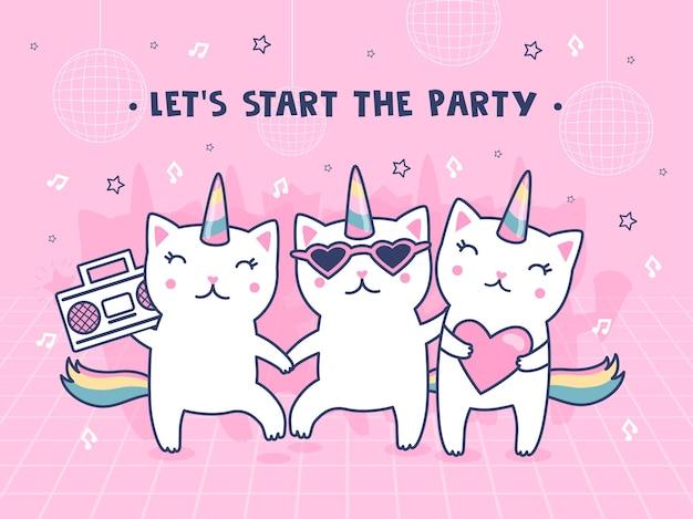 Ilustración con gatos unicornio