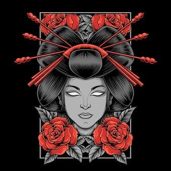 Ilustración de geisha con rosas