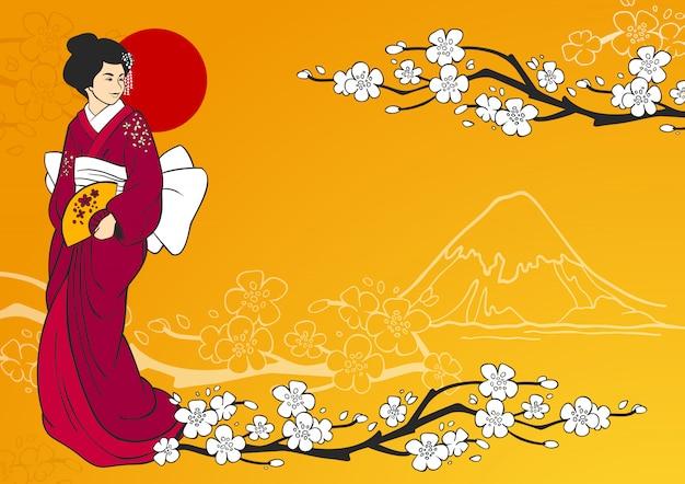 Ilustración de geisha