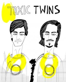 Ilustración de gemelos tóxicos