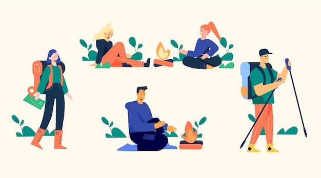 Ilustración de gente de aventura