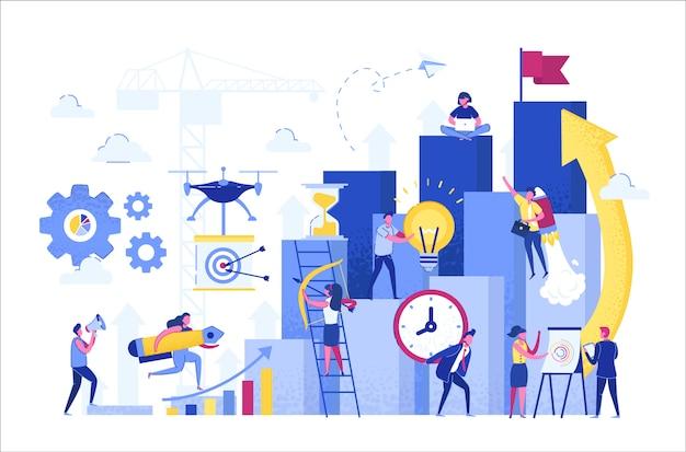 Ilustración, la gente corre hacia su meta en la columna de columnas, sube la motivación.
