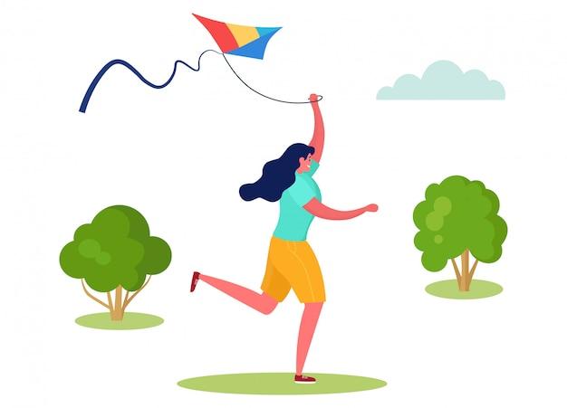 Ilustración de gente deportiva activa, personaje de dibujos animados mujer corriendo con cometa voladora en el parque de la ciudad al aire libre en blanco