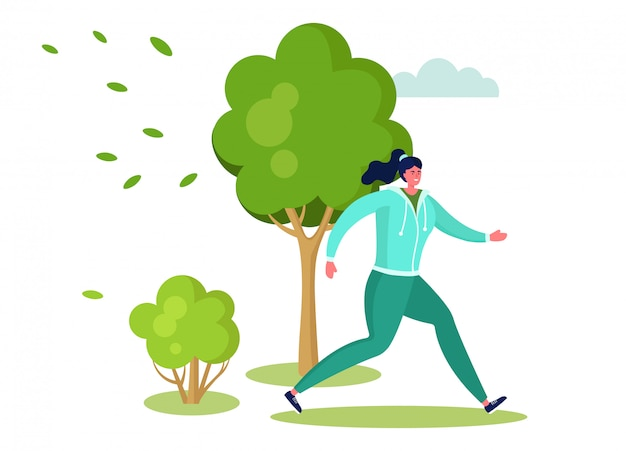 Ilustración de gente deportiva activa, personaje de mujer feliz de dibujos animados corriendo, haciendo ejercicio al aire libre en el parque de verano en blanco