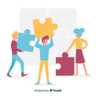 Ilustración gente dibujada a mano haciendo puzzle