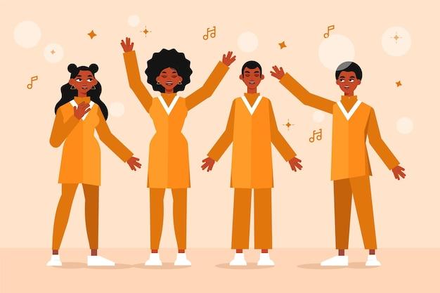Ilustración de gente feliz cantando en un coro de gospel