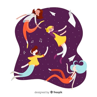 Ilustración gente flotando en el cielo