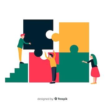 Ilustración gente haciendo un puzzle dibujada a mano