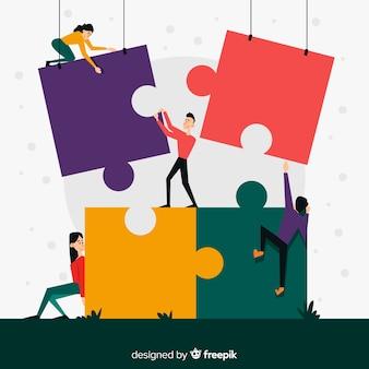 Ilustración gente haciendo puzzle junta