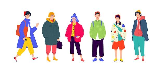 Ilustración de una gente joven de moda. niñas y niños con ropa moderna de moda.
