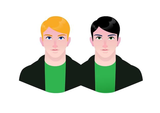 Ilustración de gente joven pareja de dibujos animados de hombres hipster avatares de chicos gay rubio y morena