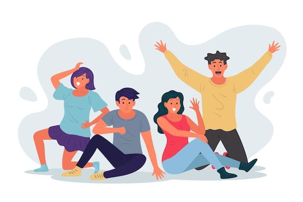 Ilustración de gente joven