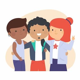 Ilustración con gente joven