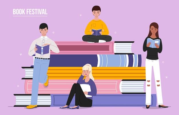 Ilustración de la gente leyendo libro festival