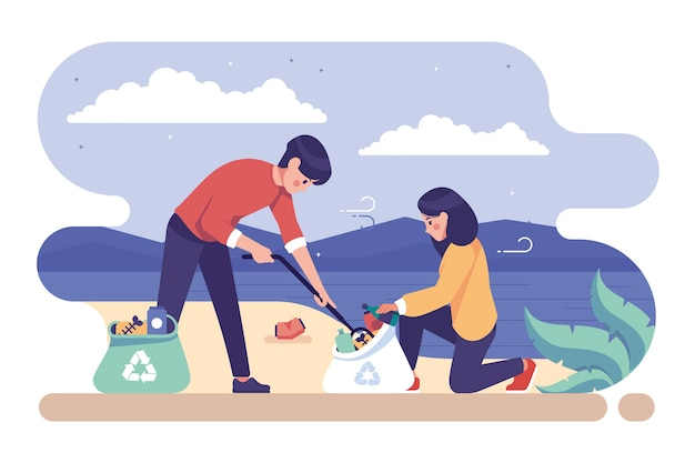Ilustración con gente limpiando el concepto de playa
